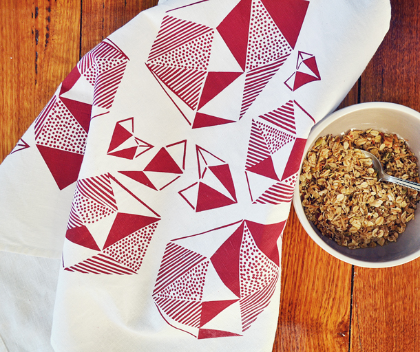 Image of the Pattern Play Fushsia Tea Towel with muesli
