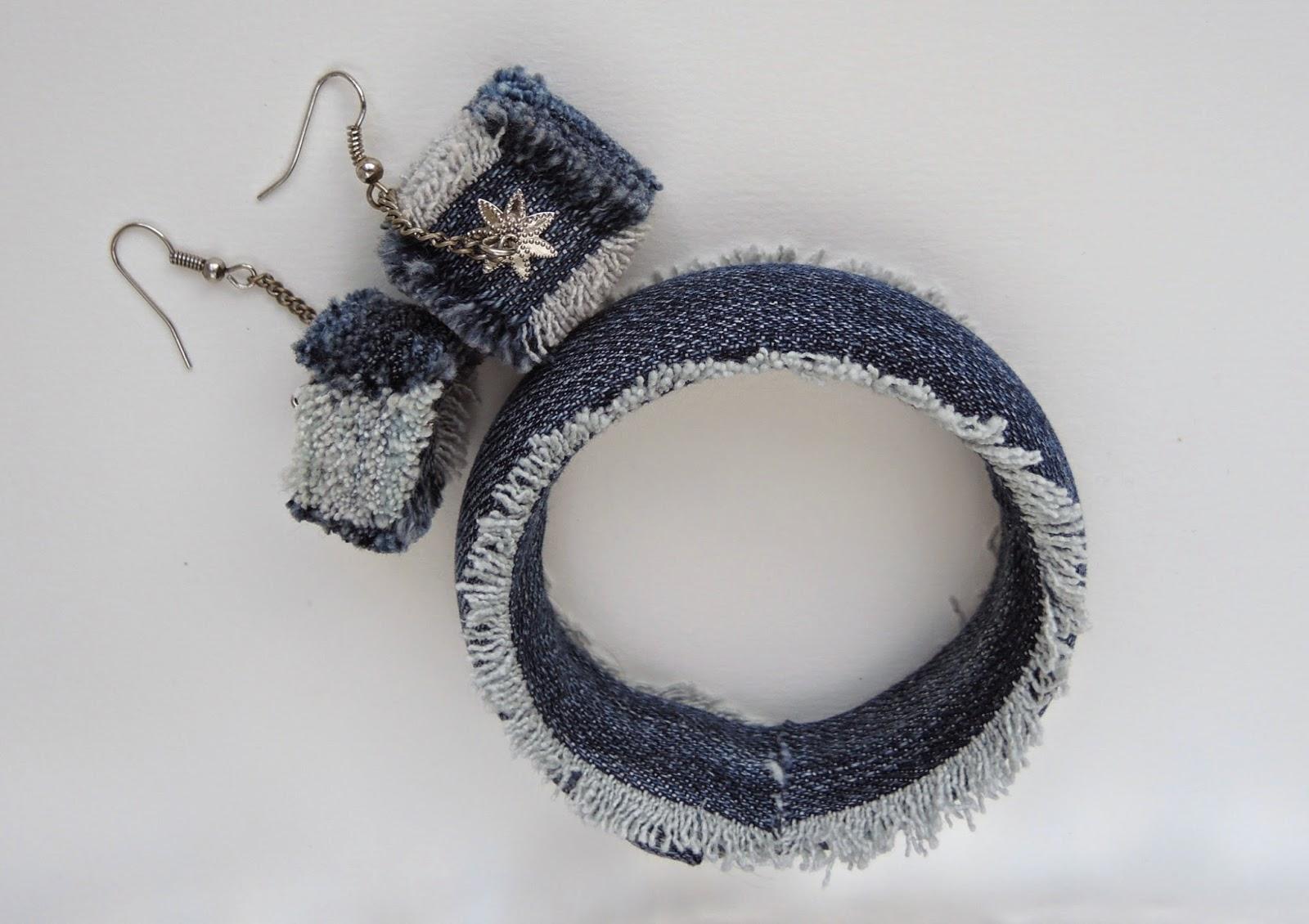 из джинс, сережки из джинсы, браслет из джинсы, своими руками, бижутерия
