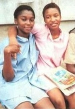 Young Tonto DIkeh in Secondary school with close friend