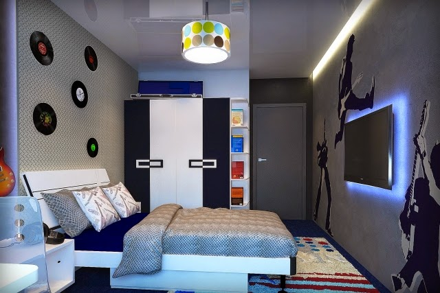 dormitorios de adolescentes en azul y gris dormitorios