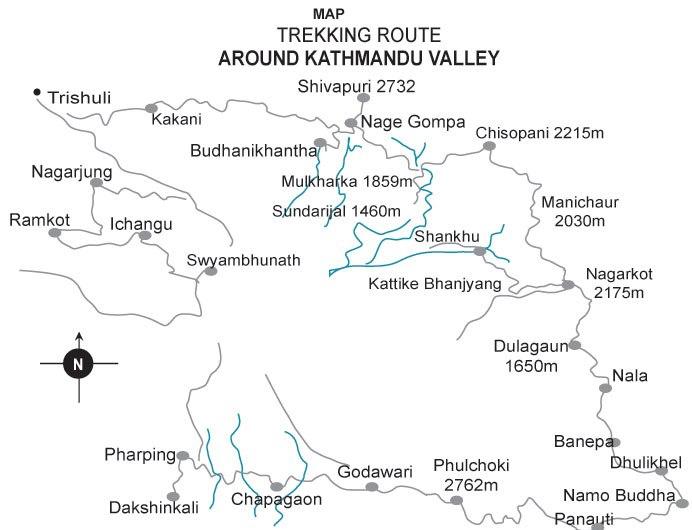 Kathmandu Valley Trekking Map