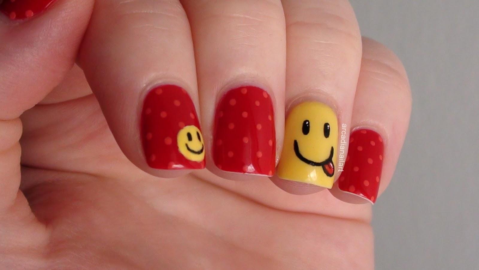 ArcadiaNailArt Smiley Face Nail Art Tutorial