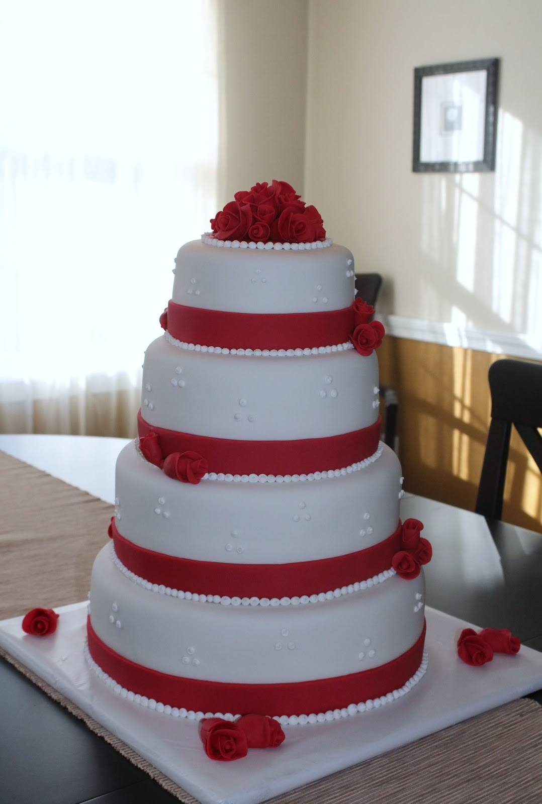 Creative Cakes by Lynn Red Roses Wedding Cake