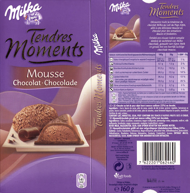 tablette de chocolat lait fourré milka tendres moments mousse chocolat