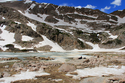 Herman Lake in Colorado can be found at the end of a steep trail that starts one exit before the Loveland Pass Ski area on I-70.