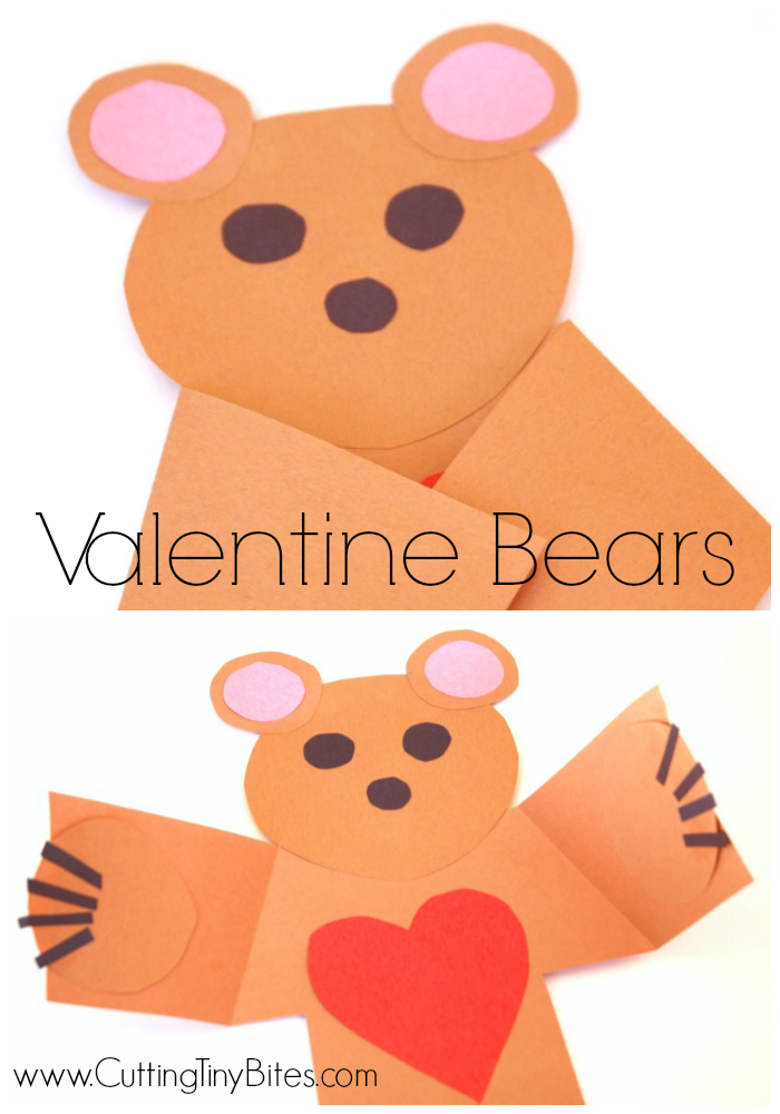Activity to go with the Eve Bunting and Jan Brett picture book for children, The Valentine Bears. Includes cute bear craft from construction paper and imaginative play ideas.
