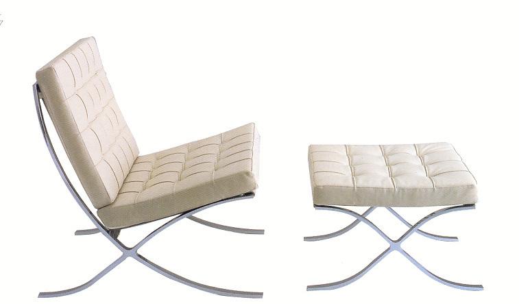 Stainless steel silla barcelona representante del - Mobiliario le corbusier ...