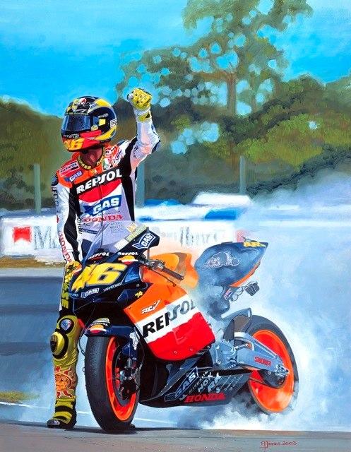 Racing Caf 232 Motorcycle Art Alan Jones 1