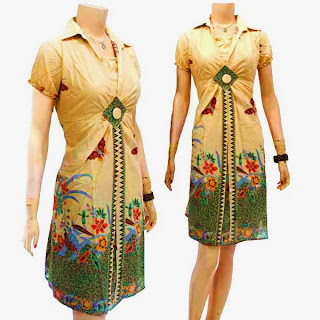 DB3224 Mode Baju Dress Batik Modern Terbaru 2013