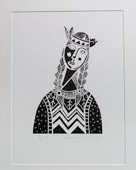 Pocahontas Linocut Print