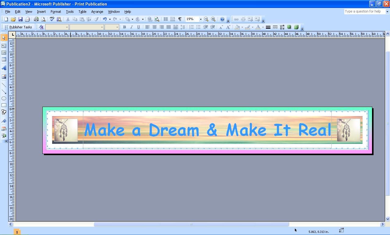 how to make a banner in publisher 2003