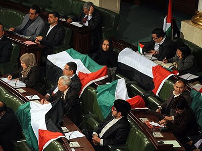Tunisian deputies display Palestinian flags