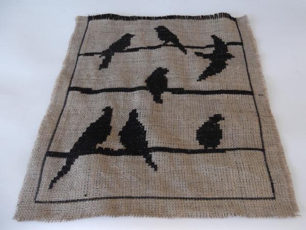 burlap fabric bag, hessian fabric bag, sack fabric bag, cross stitch on burlap, cross stitch on hessian, cross stitch on sack fabric