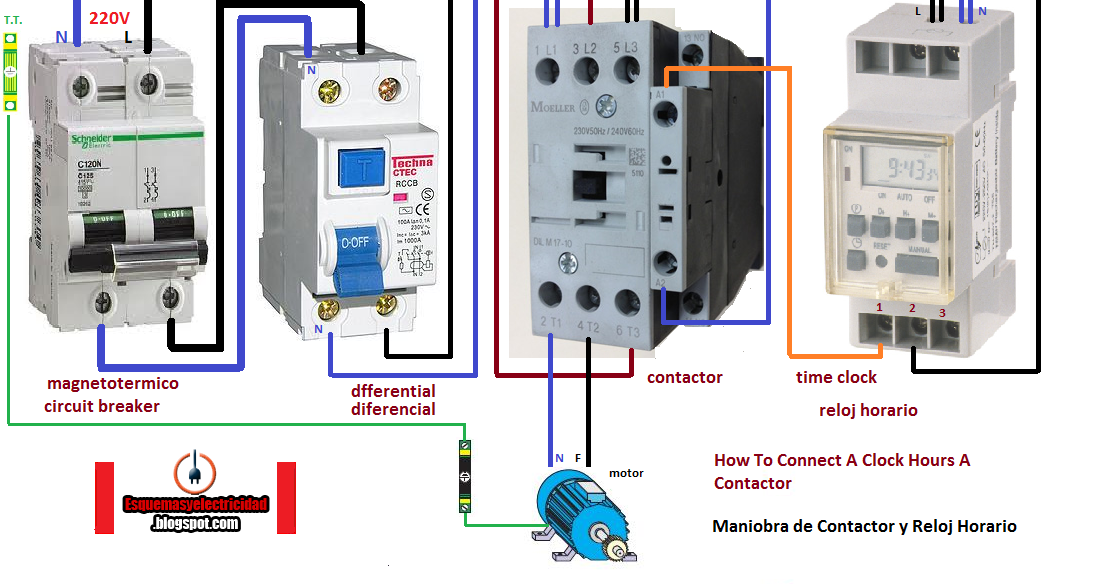 Electrical Diagrams  Howto Connect A Clock Hours A Contactor