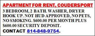 3 Br. Apartment, Coudersport