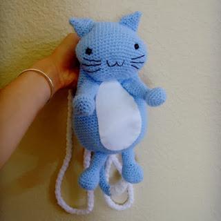 Crochet kitty cat backpack