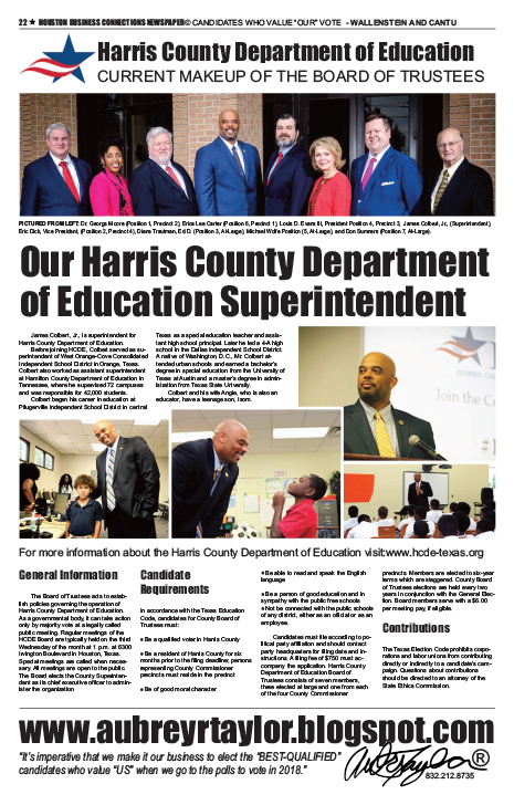 PAGE 22 - HOUSTON BUSINESS CONNECTIONS NEWSPAPER© RUNOFF ELECTION - PART 1 of 3
