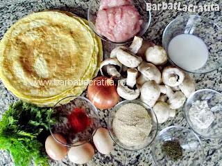 Ingredientele retetei de clatite brasovene cu ciuperci si carne