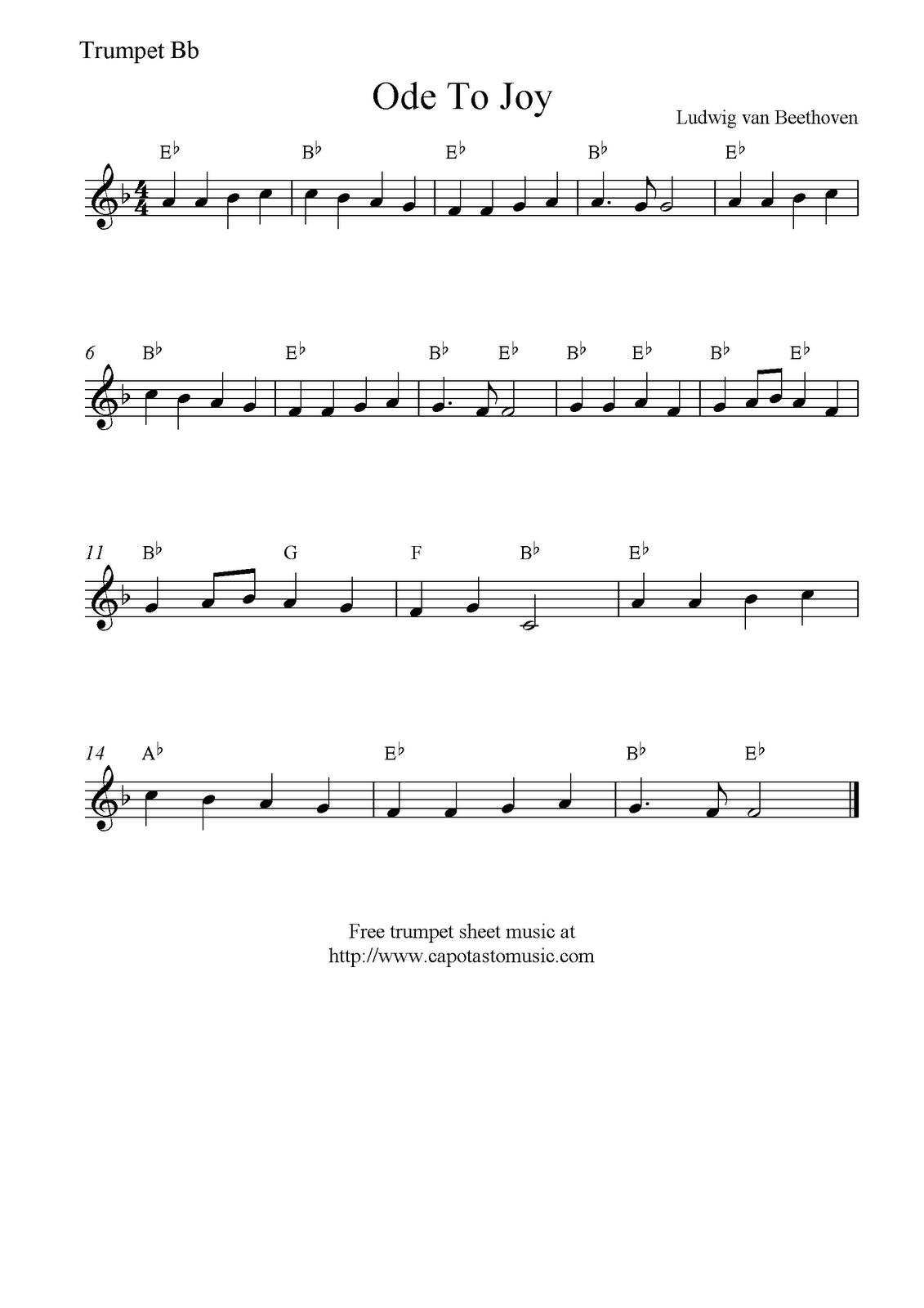 Ode to joy free trumpet sheet music notes