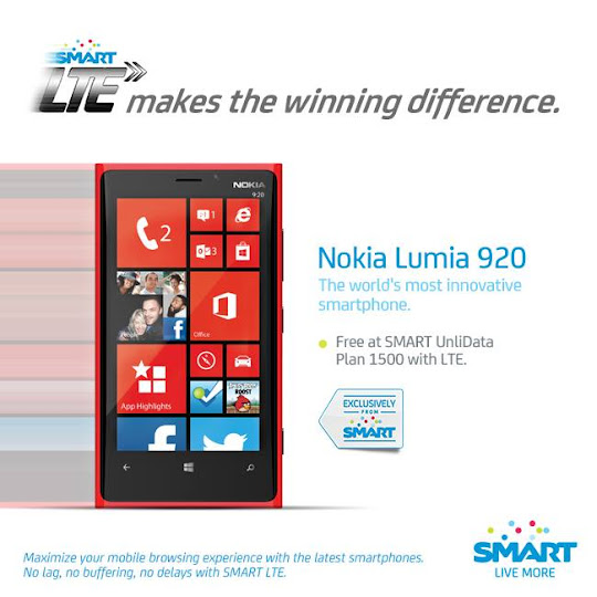 Nokia Lumia 920 is Free at SMART UnliData Plan 1500 with LTE