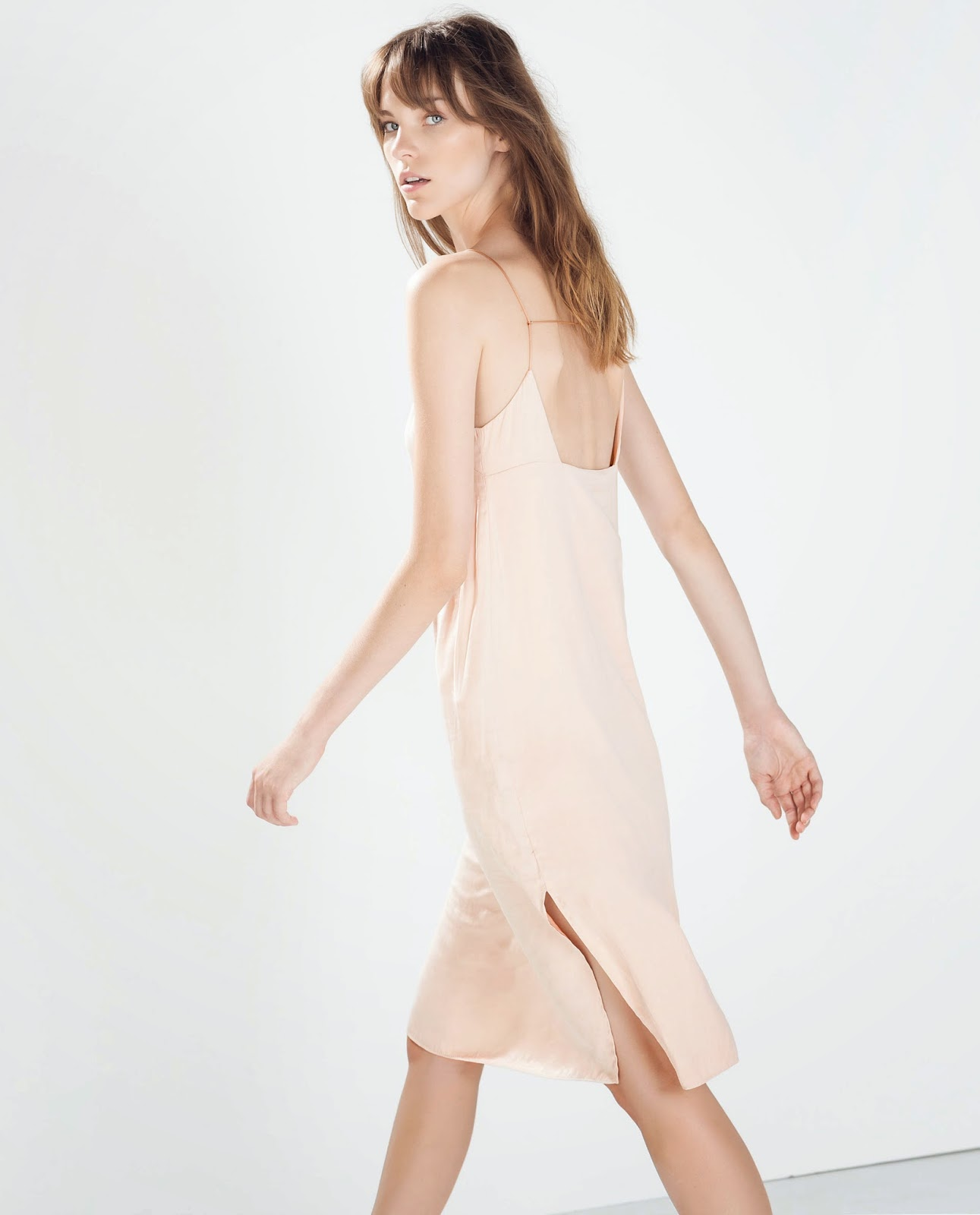 zara peach dress