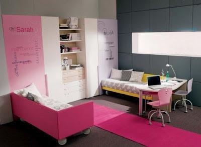 interior kamar tidur moderen remaja putri / perempuan