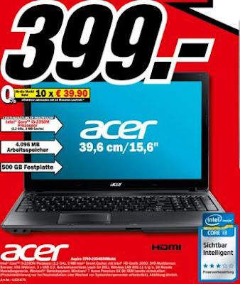 Media Markt-Prospekt zur Neu-Eröffnung des Onlineshops: Acer Aspire 5749-2354G50Mnkk für 399 Euro