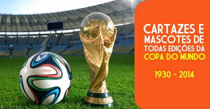 Coleção com todos os cartazes e mascotes das edições da Copa do Mundo.