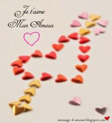 des coeur d'amour avec un petit mot d'amour