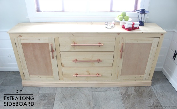 diy extra long sideboard with drawers free plans