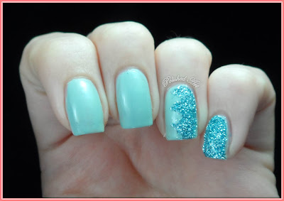 Zig-zag-nail-art-Viva-La-Nails-glitter-dust-Azure-Sally-Hansen-Green-Tea-engagement-ring