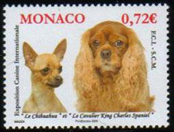 2009年モナコ公国 チワワとキング・チャールズ・スパニエルの切手