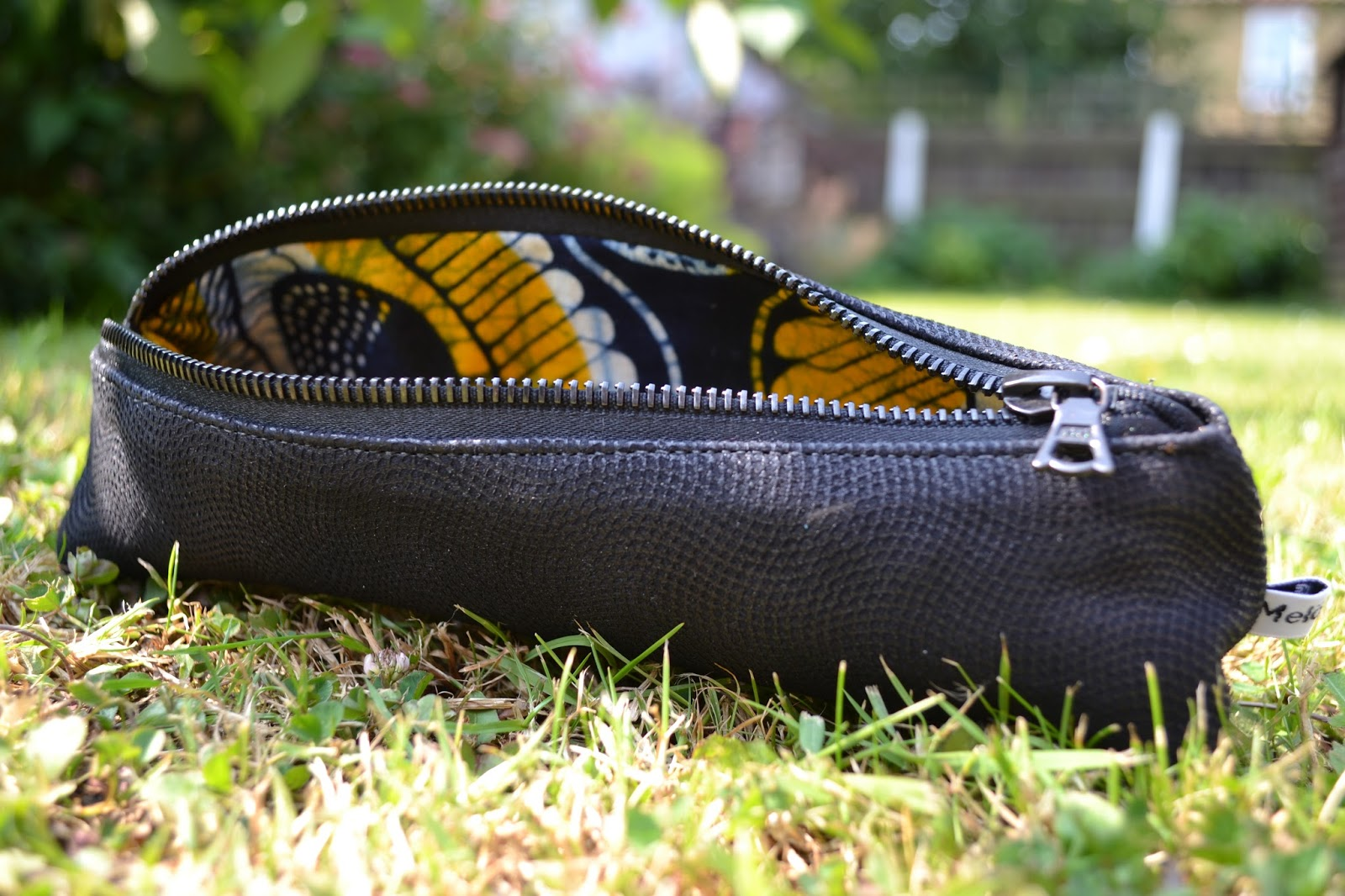 Meloleather African fabric lined leather purse made by Melo 2012
