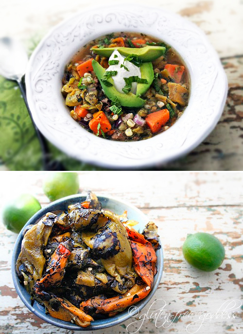 karina's roasted hatch chile stew with sweet potato, corn + lime