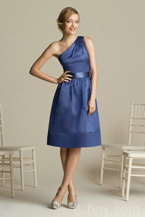 Navy Blue Bridesmaid Dresses Under 100 One Shoulder Tea Length