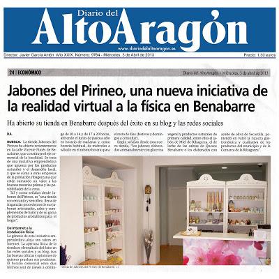 Diario del Alto Aragon Reportaje con Jabones del Pirineo