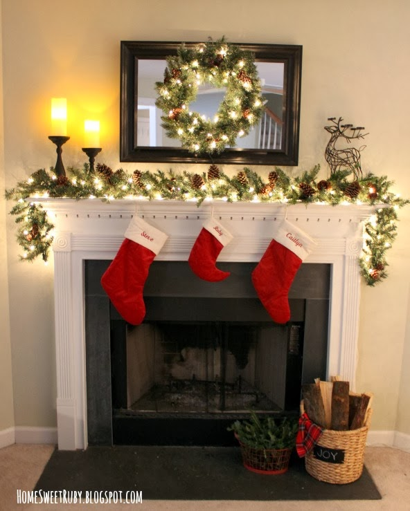our christmas mantel home sweet ruby