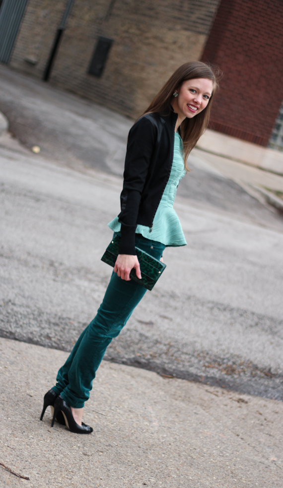 StyleSidebar - Satin Trim Sweater, Mint Peplum, Green Corduroy, Black Pumps