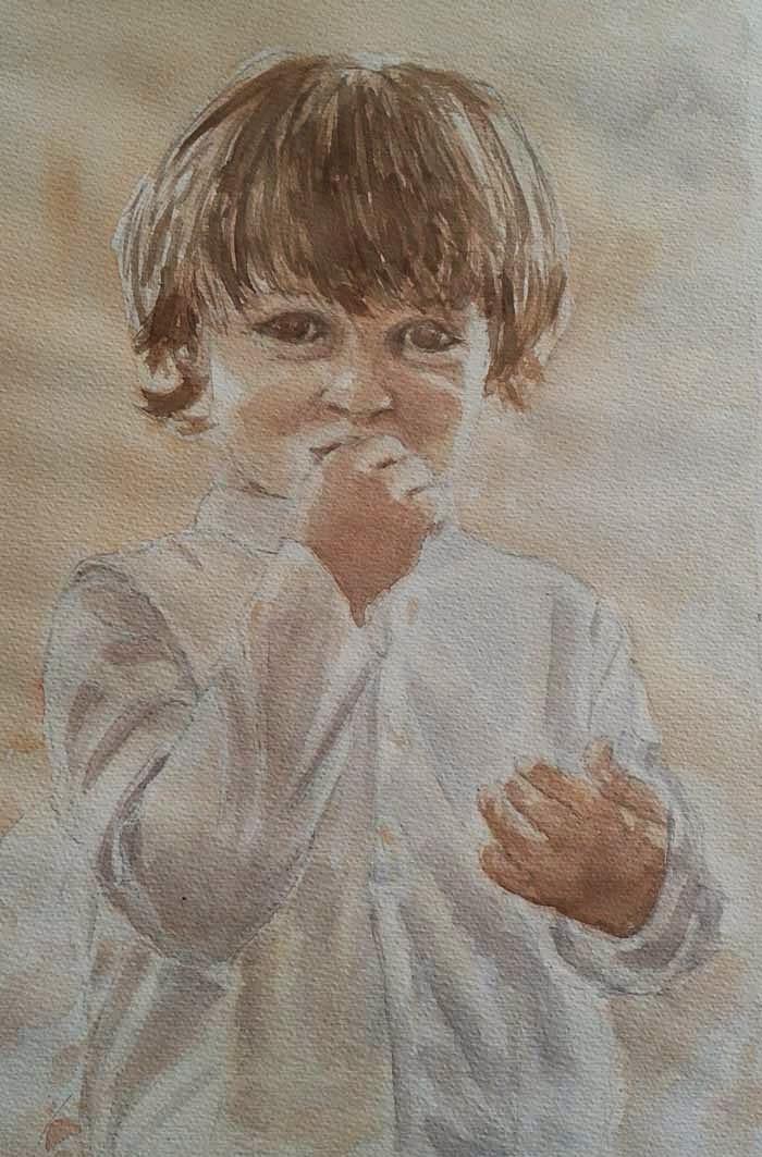 niño retratado con acuarela