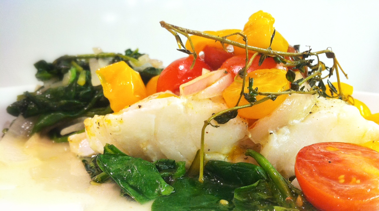 Baked Cod, Tomatoes and Spinach in Foil Packets   savory
