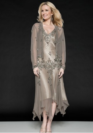 chiffon-and-satin-v-neck-a-line-tea-length-mother-of-the-bride-dress-with-matching-jacket