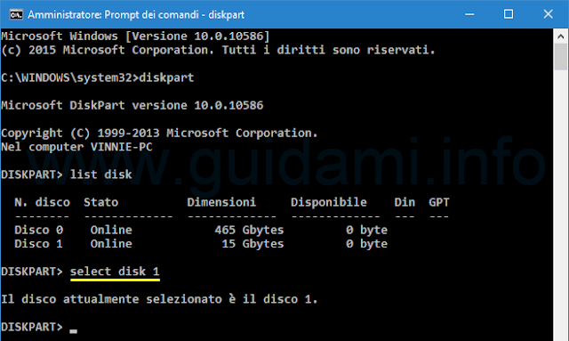 Windows Prompt dei comandi diskpart select disk