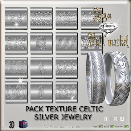 PACK TEXTURE CELTIC SILVER JEWELRY
