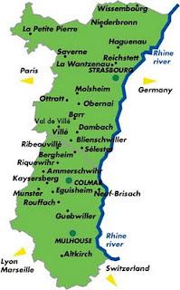 Alsacia Mapa de la Ciudades