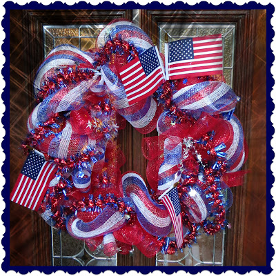 July 4th, July Fourth, 4th of July, Memorial Day, Deco Mesh Wreath