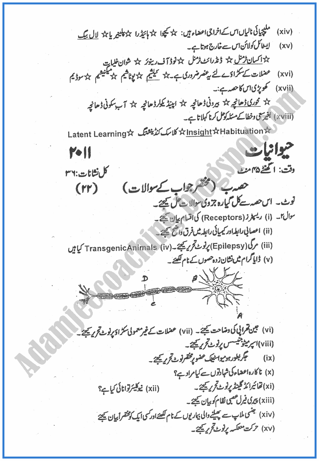 Botany-urdu-2011-past-year-paper-class-XII