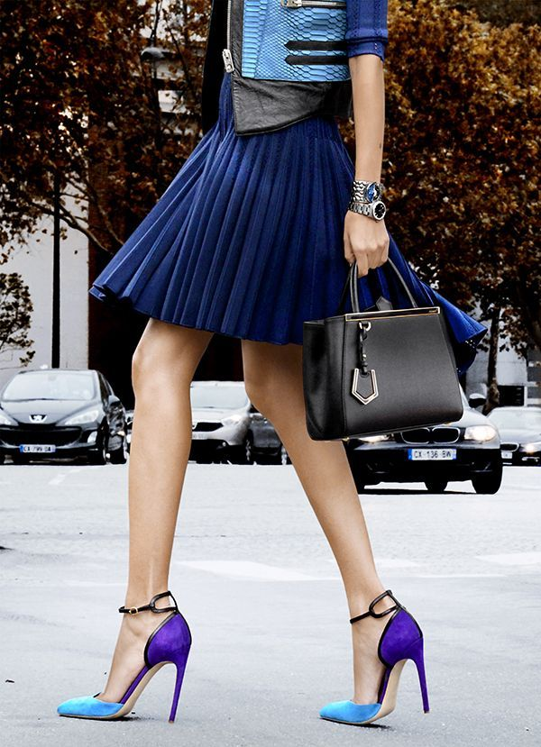 Fashion Trends Pleated Navy Skirt And Color Block Heels