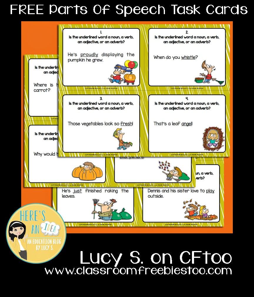 Free Parts of Speech Task Cards for Fall by Lucy S.