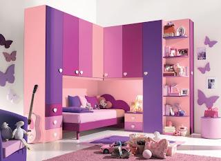 cuarto rosa y lila para niña