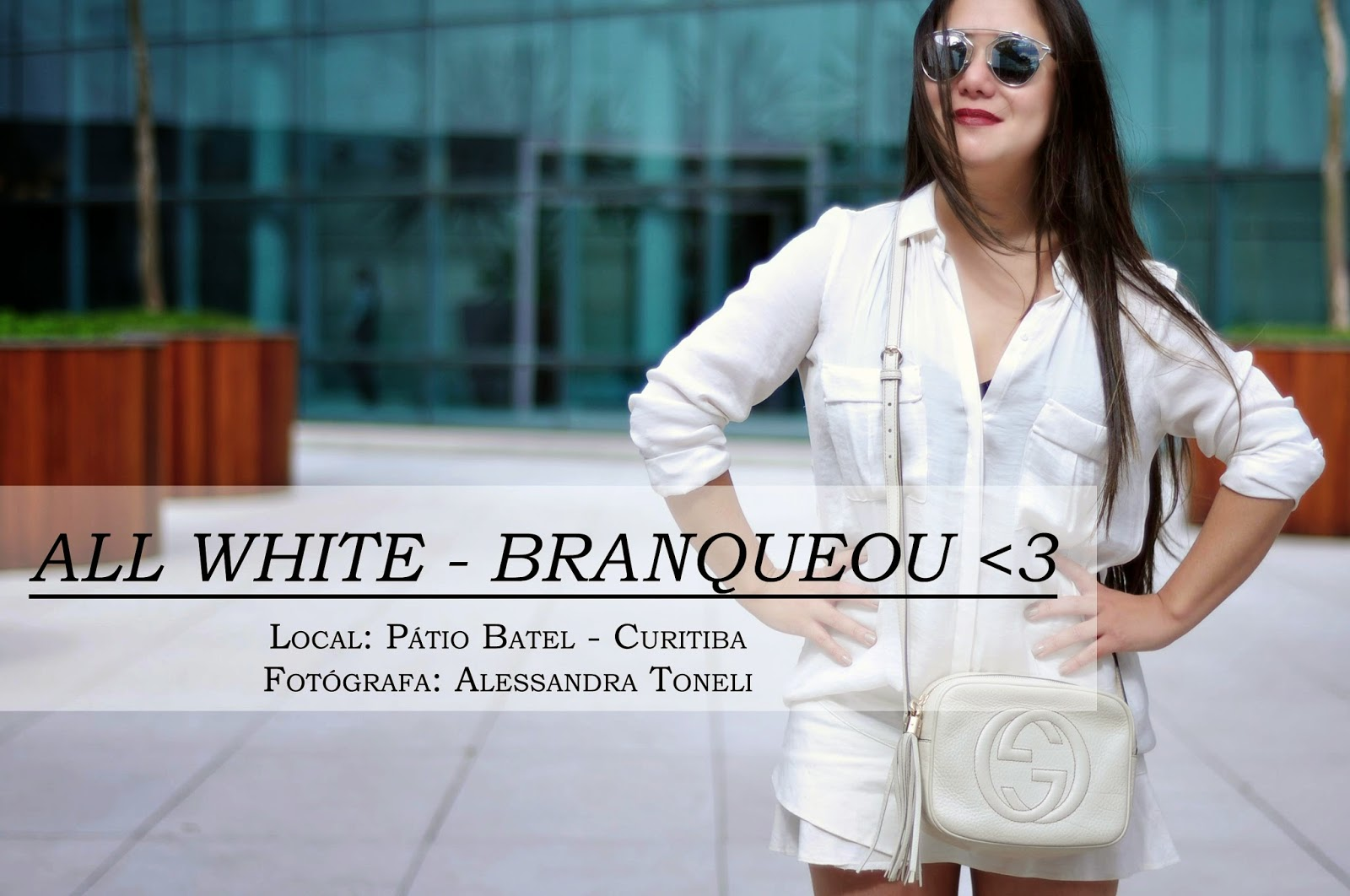 OOTD - ALL WHITE - Saia Branca + Camisa Branca + Bolsa Branca